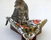 Pet Bed in Orange Cotton Ikat Roses