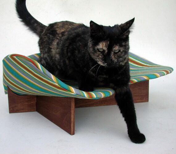 Retro Modern Pet Bed in Turquoise Fuzzy Stripe