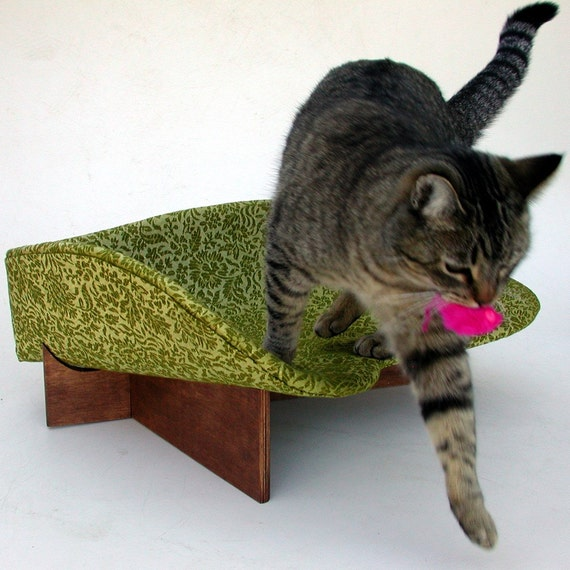 Modern Cat Bed in Avocado Brocade