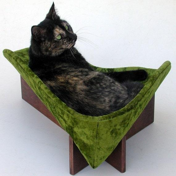Retro Modern Pet Bed In Avocado Crushed Velvet By