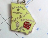 lime green georgia vintage silver and enamel state charm