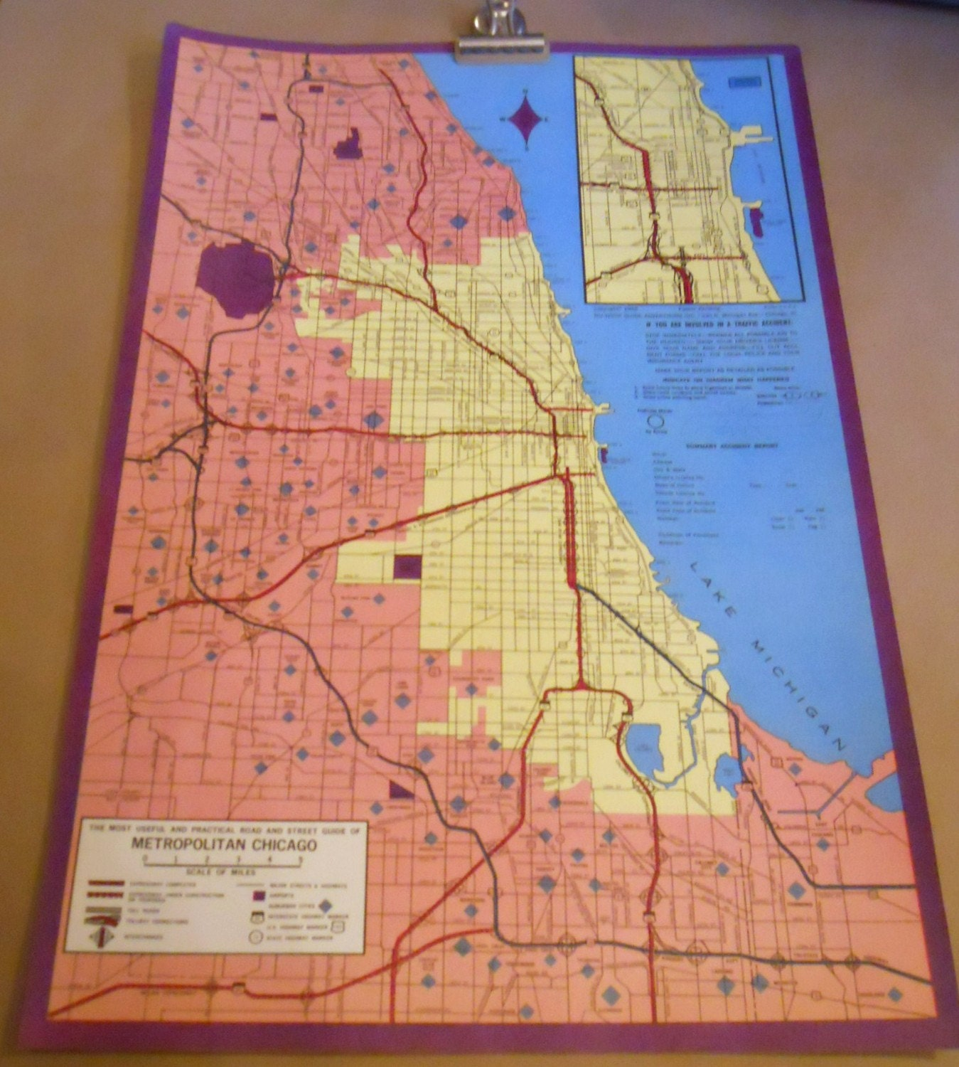 vintage chicago map c 1960s