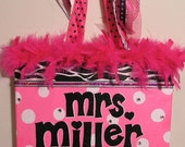 Personalized, Hand Painted Canvas Wall Art (11x14 hot pink white dot zebra example)