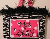 Personalized, Hand Painted Canvas Wall Art (11x14 hot pink with white dots and zebra example)