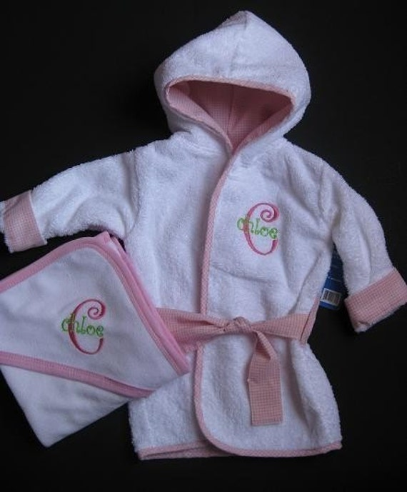 Monogrammed Baby Bath Robe And Hooded Towel Set 0-6 Months