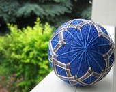 home decor - decorative ball - hand embroidered - japanese temari thread ball - azure