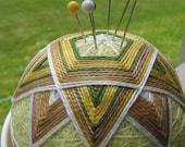 temari pincushion teacup - hand embroidered thread ball - lemongrass tea garden