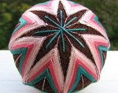 fiber art hand embroidered decorative ball -  japanese temari thread ball - love in bloom