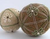 wheat duet - hand embroidered thread balls - japanese temari