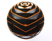 modern home decor decorative sphere - hand embroidered - japanese temari thread ball - turbo gray and orange