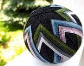 decorative sphere contemporary asian home decor - hand embroidered - japanese temari thread ball - mod stripe