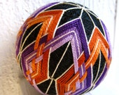 decorative ball -  japanese temari modern home decor - hand embroidered decorative ball - mod batik
