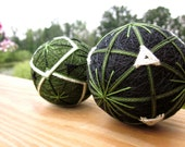 Clearance - decorative balls asian home decor - hand embroidered thread balls - japanese temari - olive duet