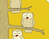 Owls Getting Sleepy Modern Art Print - different colors and sizes available
