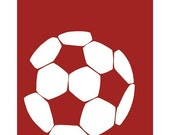 Soccer Ball Silhouette, soccer decor 13 x 19 print - different sizes and colors available