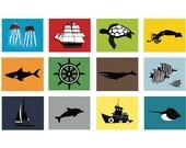 Ocean room decor, baby boy nursery art, kids bathroom decor set of 4, 8 x 10 art prints - you choose the designs and colors