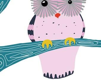 Owl Nursery Decor, woodland creature art, girl nursery art - 13 x 19 Print by nevedobson