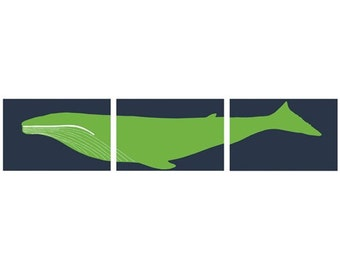 Whale Art Triptych, nautical nursery decor, set of 3, 13 x 19 Art Prints