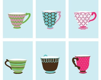 Teacup art prints, modern art for girls, 6, 8x10 prints - different sizes and colors available