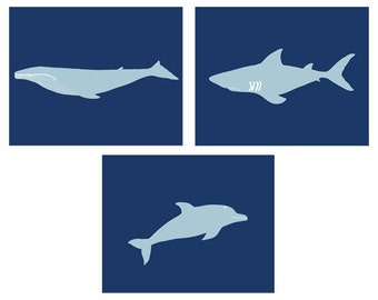 Sea creature art prints, set of 3, 8 x 10 modern art prints - available in different colors and sizes