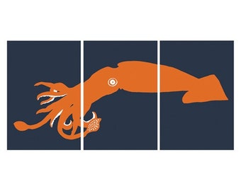 Giant Squid Art, ocean animal room decor, set of 3, 13 x 19 prints - different colors and sizes available