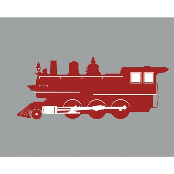 Vintage Steam Engine Train Silhouette Modern Art Print