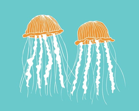 Jellyfish wall art for baby 13 x 19 sea life wall decor - customizable colors