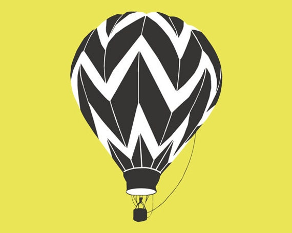 Hot Air Balloon Print, Chevron Pattern by nevedobson - different colors and sizes available