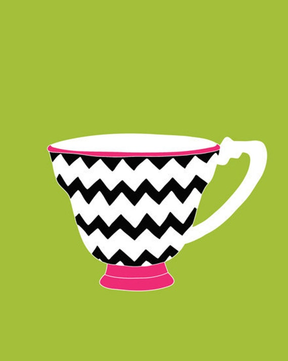Chevron wall art, Zig Zag Teacup art for girls 13 x 19 modern art print - different colors and sizes available