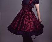 Gothic Steampunk Dress - Japanese Lolita Jumper - Red and Black Velvet Flocked -Custom to your size