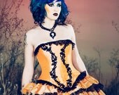 Halloween Dress Cinderella- Pumpkin Orange and Black Ball Gown - Masquerade Fairytale Outfit -Custom to your size