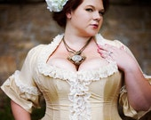 Plus Size Victorian Wedding Dress Corseted Jacket Steampunk Style Silk choose your color Custom to Order