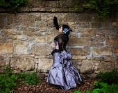 Plus Size Steampunk Bustle Wedding Dress Elegant in MoonShadow- Custom to order
