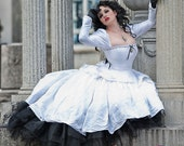 "SALE Alternative Victorian Wedding Gown White Silk and Black Lace ""Gothic Romance""- READY to Ship Medium"