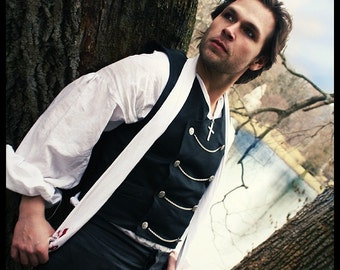 Men's Steampunk Vest Black Gothic Double Breasted Style-Custom to your size
