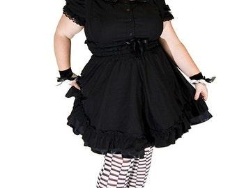 Gothic Lolita Jumper Black Cotton Dress-3X-5X Plus Size Custom to your size