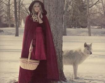 Red Riding Hood Cape Red Micro Velvet-Custom to Order