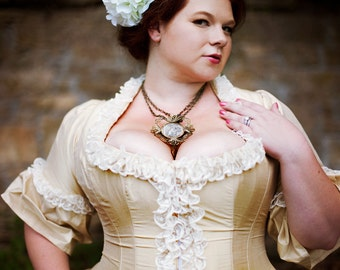 Victorian Wedding Dress Corseted Jacket Steampunk Style Silk - Custom to Order