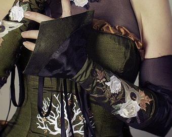 Steampunk Accessory Gauntlets - Arm Corset with Embroidered Detail - Pirate Renaissance- Custom to Order