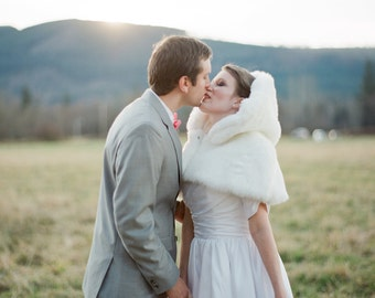 Bridal Mini Cape Faux Fur White Capelet Winter Wonderland- Custom to order