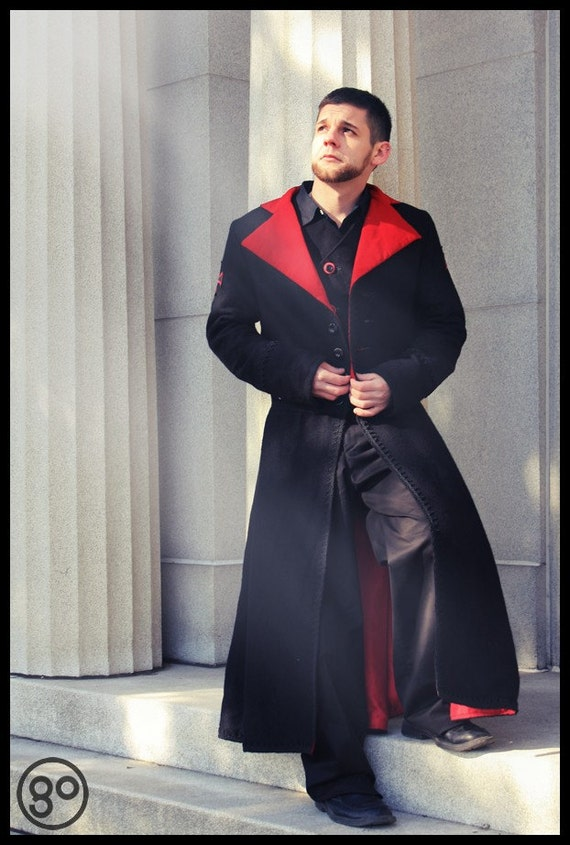Men's Gothic Steampunk Coat - Vampire Duster Black Wool with Red Accents -Custom to your size
