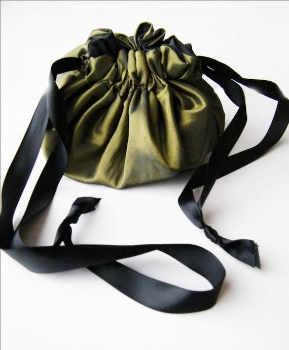 Steampunk Purse Reversable Draw String Taffeta and Cotton-Custom to order