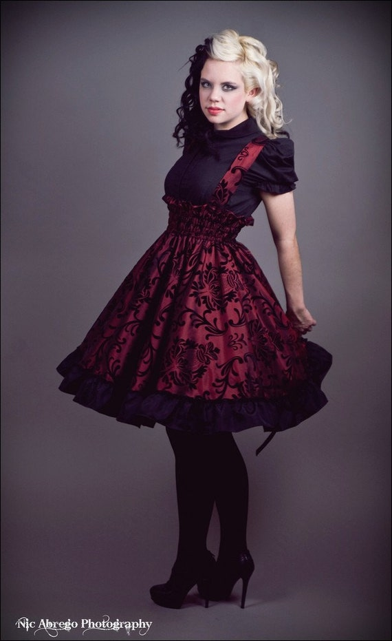 Gothic Steampunk Dress - Japanese Lolita Jumper - Red and Black Velvet Flocked -Custom to your size