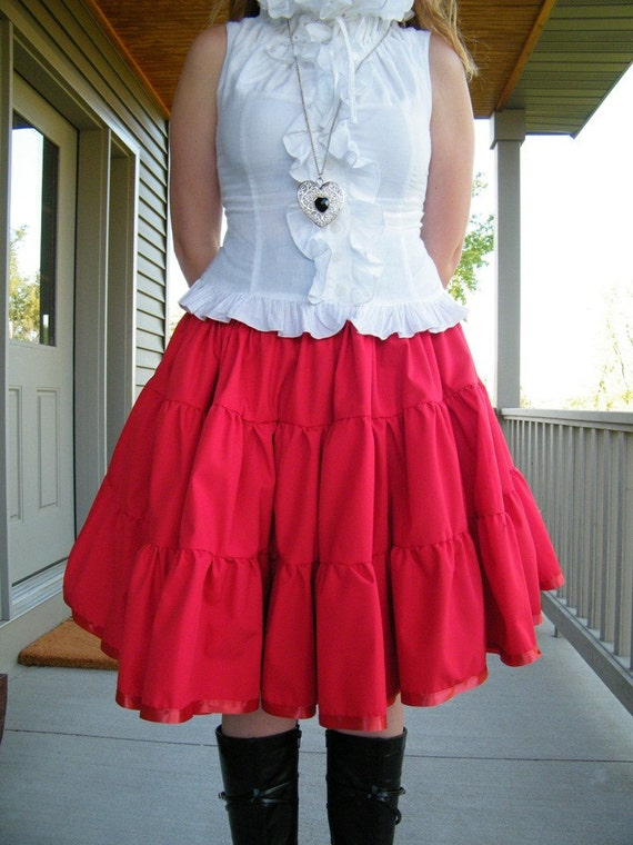 Items similar to Plus Size Red Cotton Petticoat Skirt -3x-5x ...