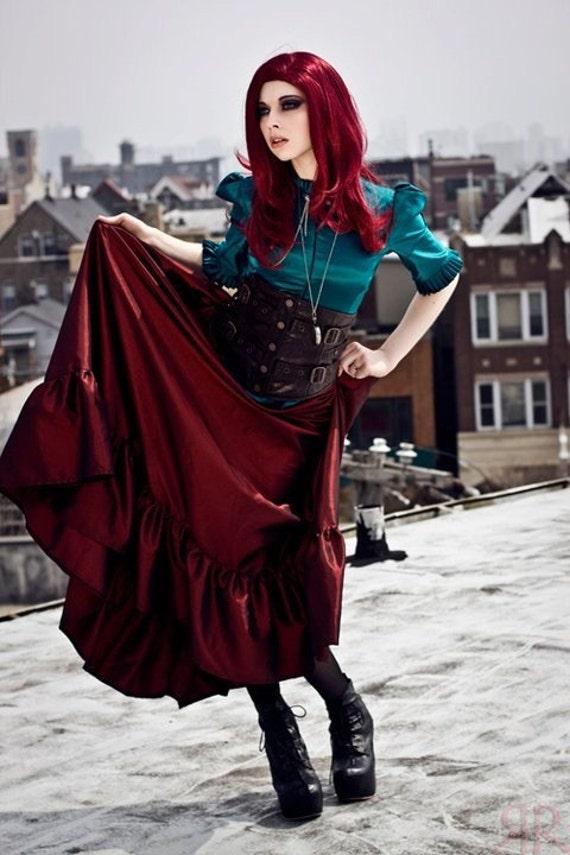 Steampunk Skirt Victorian Style Red Taffeta - Ready to ship XL