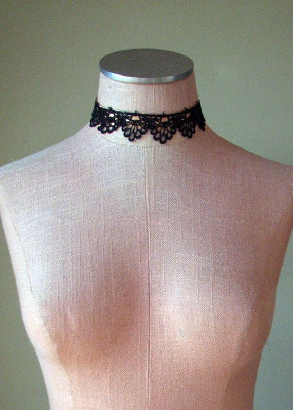 Steampunk Choker Lolita and Gothic Gold Ribbon and Black Lace No Metal- READY TO SHIP