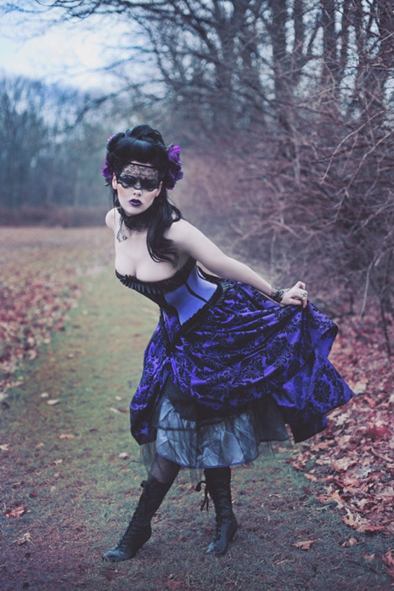 Goth Wedding Dress Purple Black Flocked Taffeta Corset