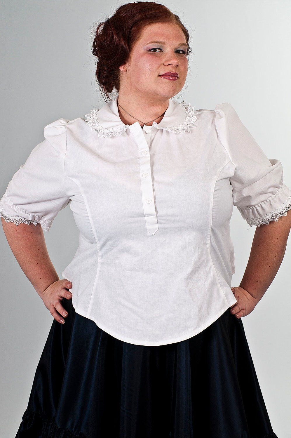 White Cotton Blouse Plus Size 118