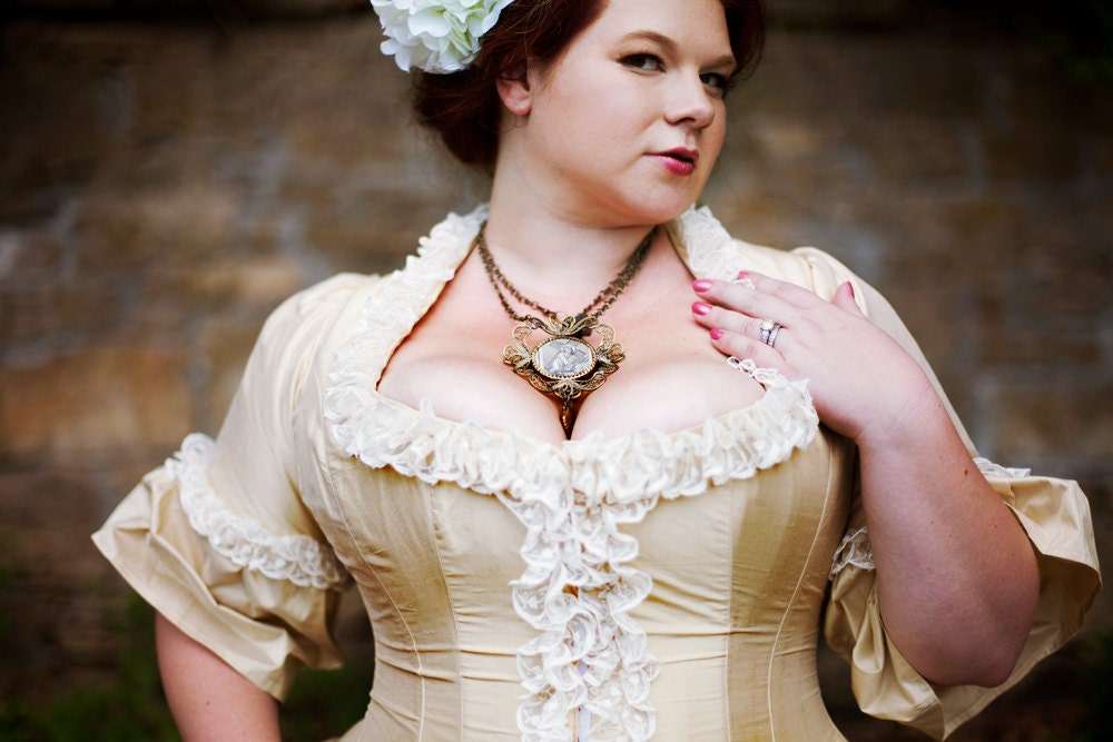 Plus size victorian wedding dress corseted jacket by for Corset bra for wedding dress