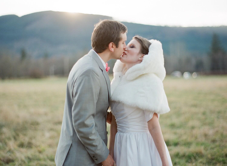Bridal Mini Cape Faux Fur White Capelet Winter Wonderland